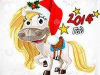 Раскраски Лошадка новогодняя