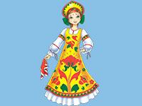 Раскраски Русский народный костюм