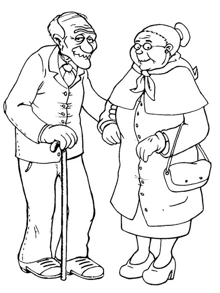 Раскраска открытка для бабушки и дедушки