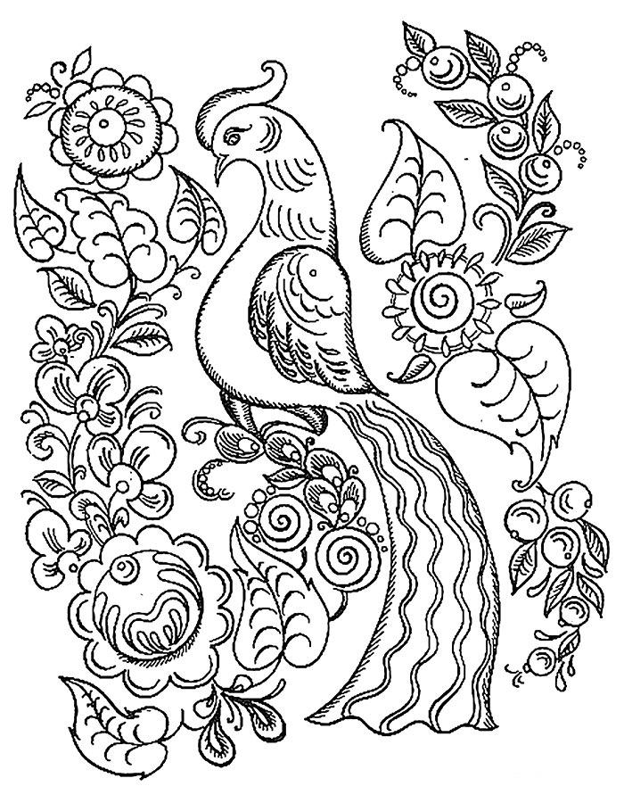 Раскраска городецкий фазан