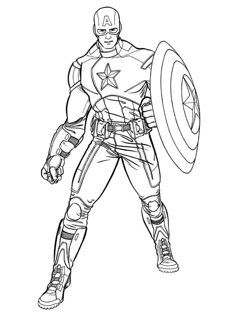 капитан америка картинка раскраска