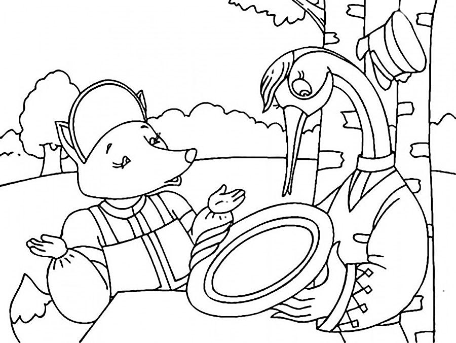 Раскраски Лиса и журавль скачать и распечатать.