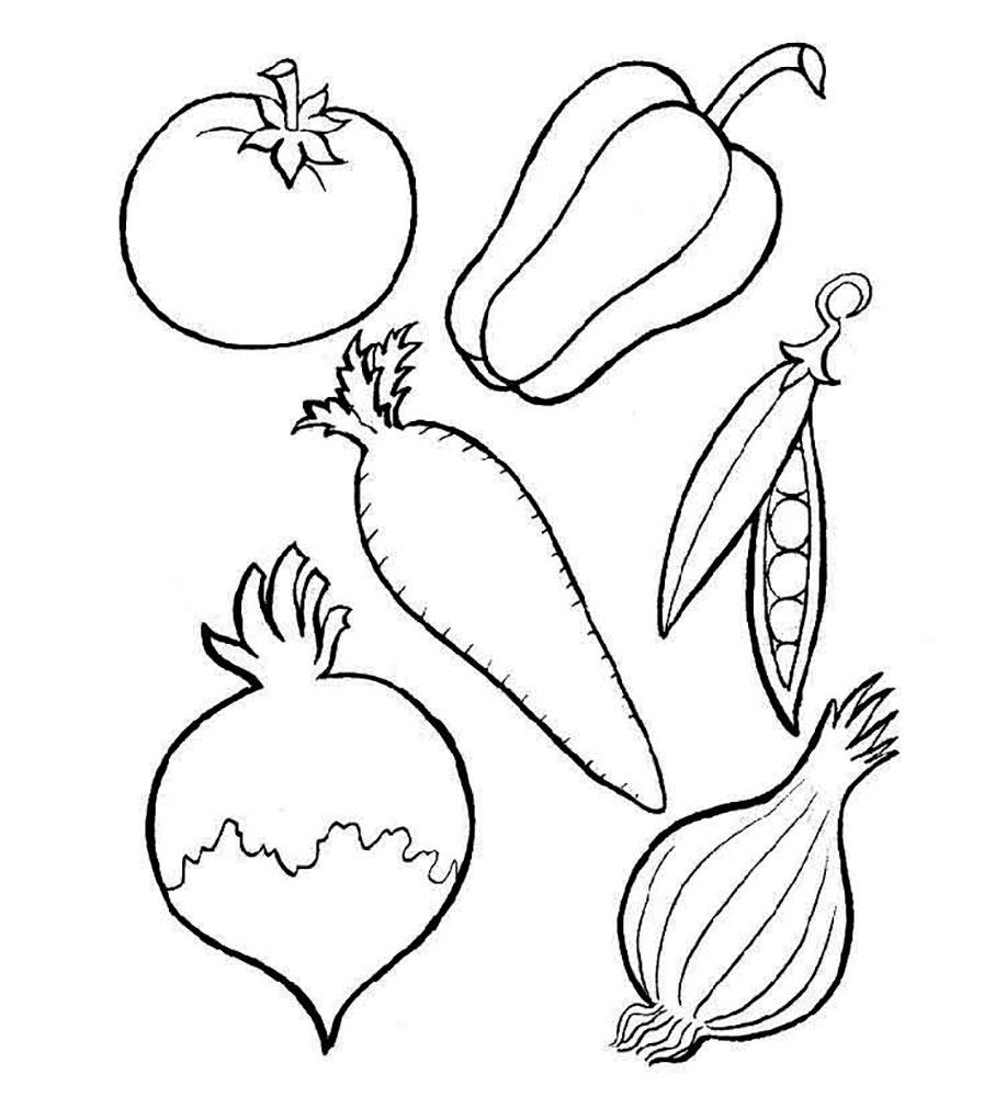 раскраска набор овощей этого подойдет
