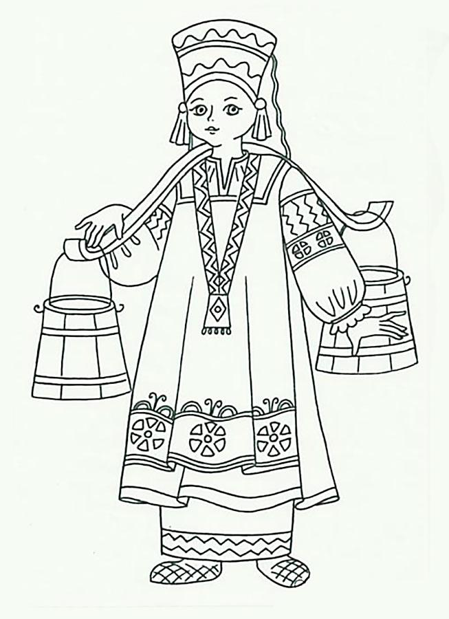 разработке русские народные костюмы рисунки карандашом краткое понятное