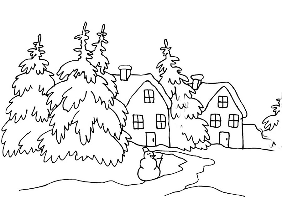 Распечатать раскраски про зиму