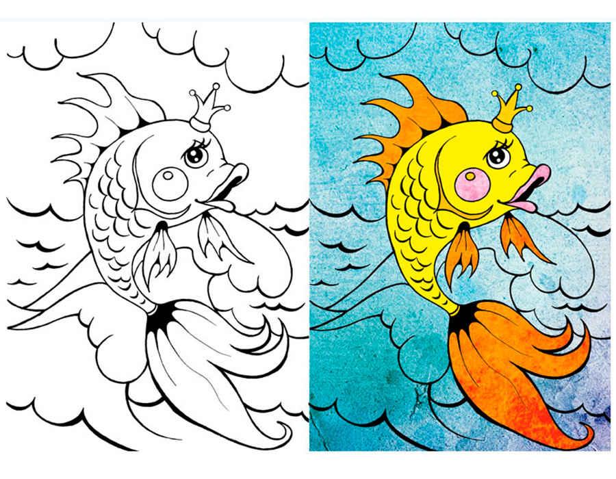 раскраски к сказке золотая рыбка скачать и распечатать