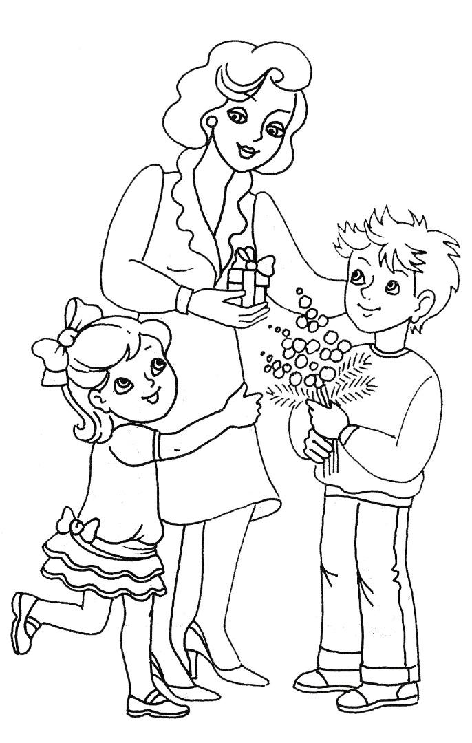 Раскраски ко дню матери для детей 6-7 лет