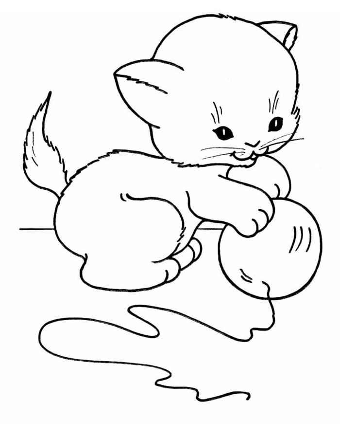 Раскраска кошка и котенок для малышей