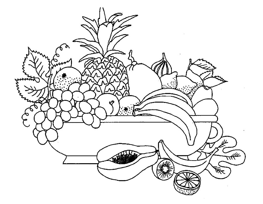 Картинки раскраски натюрморт фрукты