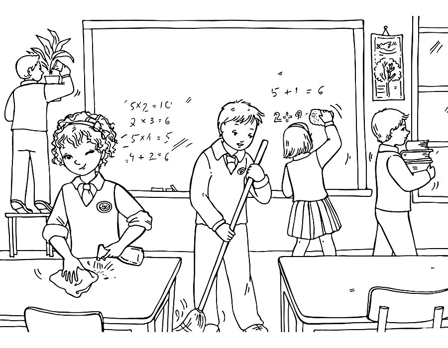 раскраски картинки про школу
