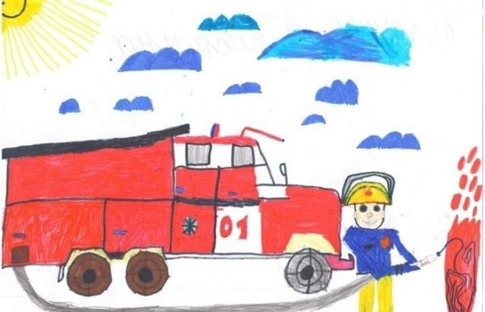 рисунок по пожарной безопасности 1 класс
