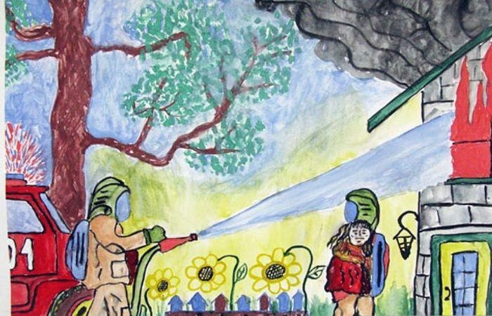 рисунки по пожарной безопасности в детском саду